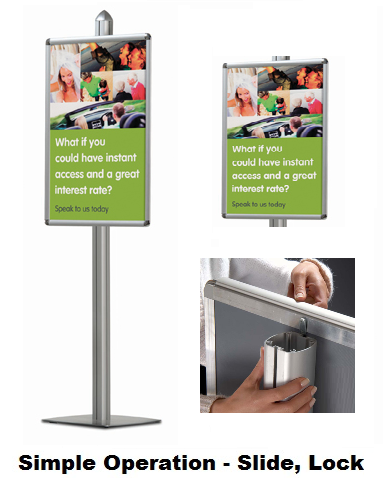 A1 Front Poster Frame Systems | Freestanding Display | Snap Frame |
